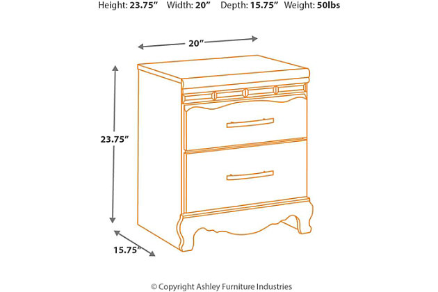 nightstand dimensions diagram