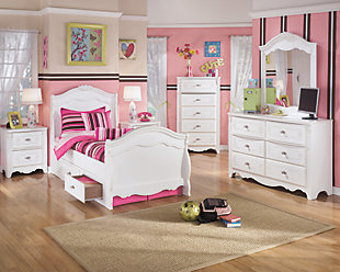 Exquisite Full Sleigh Bed with Storage, White, large