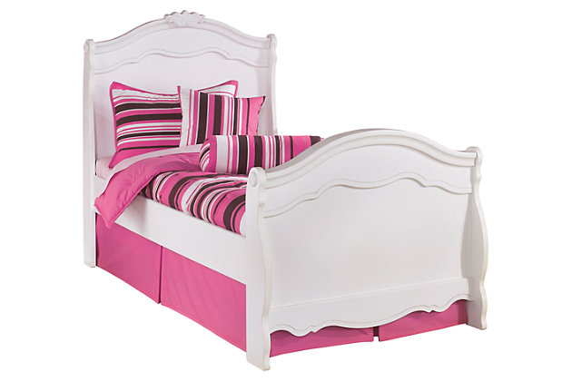 Exquisite Twin Sleigh Bed, White, large