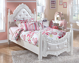 Exquisite Twin Poster Bed, White, rollover