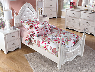 Exquisite Twin Poster Bed, White, large