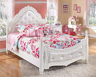 Exquisite Full Poster Bed, White, rollover