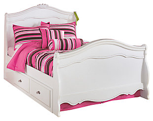 Exquisite Full Sleigh Bed with 4-Storage, White, large
