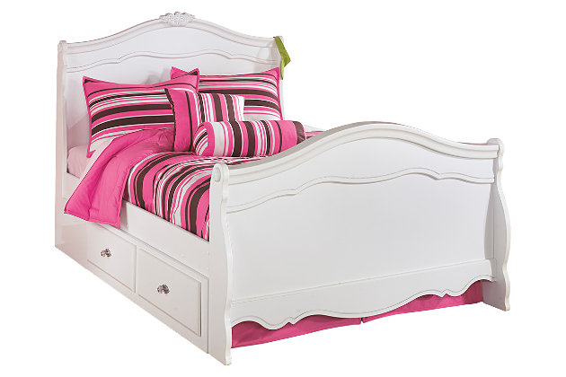 Exquisite Full Sleigh Bed with 2 Storages, White, large