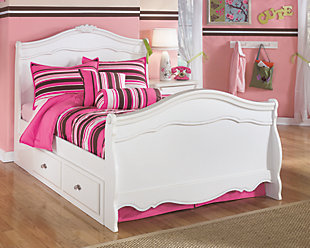 Exquisite Full Sleigh Bed with 2 Storage Units, White, rollover
