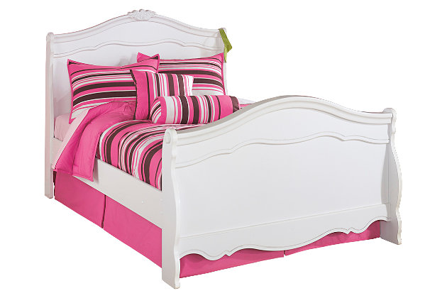 Exquisite Full Sleigh Bed, White, large