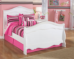 Exquisite Full Sleigh Bed, White, rollover