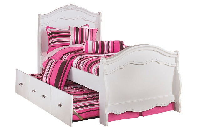 White Exquisite Twin Trundle Bed by Ashley HomeStore