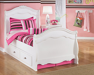 Exquisite Twin Sleigh Bed with Storage, White, rollover