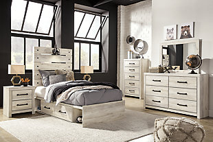 Cambeck Twin Panel Bed with 2 Storage Drawers, Whitewash, large