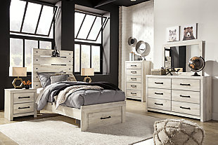 Cambeck Twin Panel Bed with 1 Storage Drawer with Mirrored Dresser, Chest and Nightstand, , large