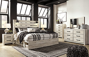 Cambeck King Panel Bed with 4 Storage Drawers, Whitewash, large