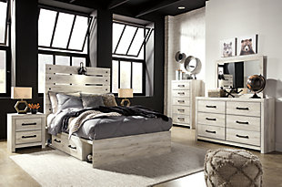 Cambeck Full Panel Bed with 4 Storage Drawers, Whitewash, large