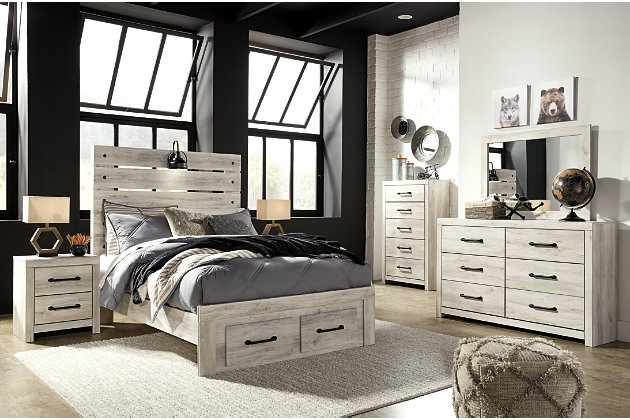 Cambeck Full Panel Bed with 2 Storage Drawers, Whitewash, large