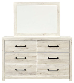 Cambeck Twin Panel Bed with 1 Storage Drawer with Mirrored Dresser, , large