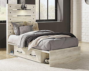 Cambeck Twin Panel Bed with Side Storage, Whitewash, rollover
