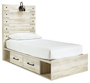 Cambeck Twin Panel Bed with Side Storage, Whitewash, large