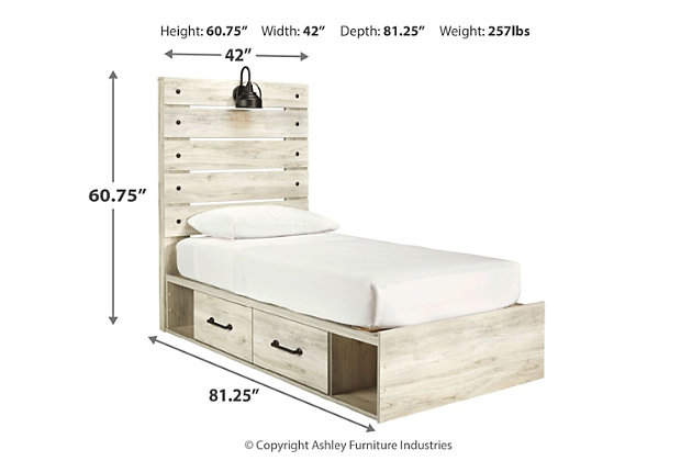 Cambeck Twin Panel Bed with 4 Storage Drawers, Whitewash, large