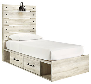 Cambeck Twin Panel Bed with 2 Storages, Whitewash, large