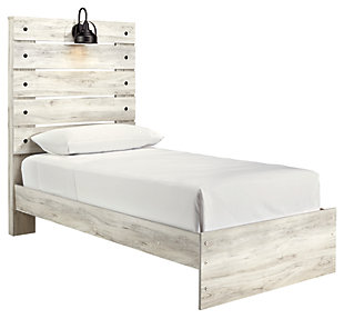Cambeck Twin Panel Bed, Whitewash, large