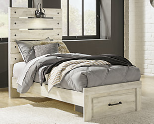 Cambeck Twin Panel Bed with 1 Storage Drawer, Whitewash, large