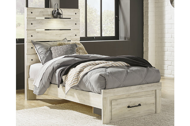 Cambeck Twin Panel Bed with 1 Storage Drawer with Mirrored Dresser, Whitewash, large