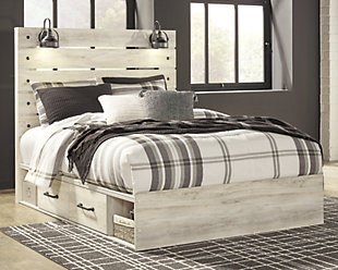 Cambeck Queen Panel Bed with Side Storage, Whitewash, rollover