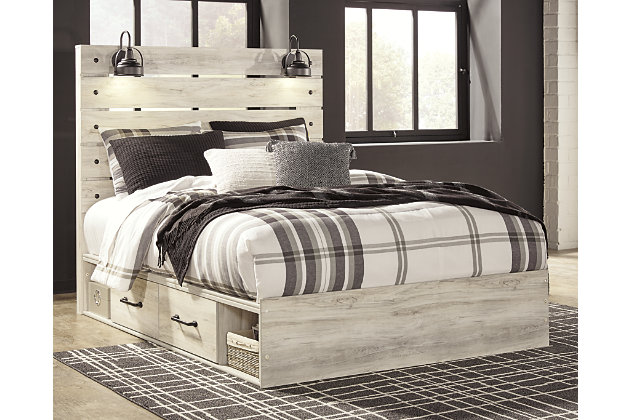 Cambeck Queen Panel Bed with 4 Storage Drawers, Whitewash, large
