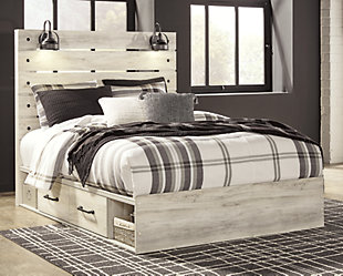 Cambeck Queen Panel Bed with 4 Storage Drawers, Whitewash, rollover