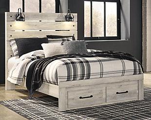 Cambeck Queen Panel Bed with Storage, Whitewash, rollover