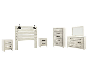 Cambeck Queen Panel Headboard Bed with Mirrored Dresser, Chest and 2 Nightstands, Whitewash, large