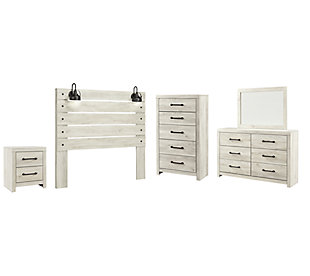 Cambeck Queen Panel Headboard Bed with Mirrored Dresser, Chest and Nightstand, Whitewash, large