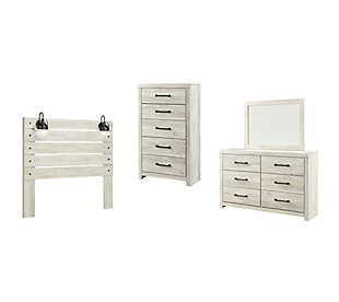 Cambeck Queen Panel Headboard Bed with Mirrored Dresser and Chest, Whitewash, large