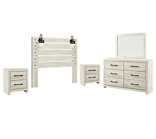 Cambeck Queen Panel Headboard Bed with Mirrored Dresser and 2 Nightstands, Whitewash, large
