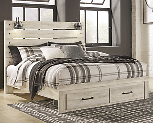 Cambeck King Panel Bed with Storage, Whitewash, rollover
