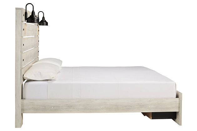 Cambeck King Panel Bed with 2 Storage Drawers, Whitewash, large