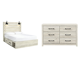 Cambeck Queen Panel Bed with 2 Storage Drawers with Dresser, Whitewash, large