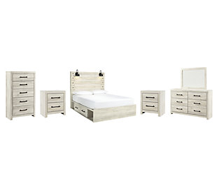 Cambeck Queen Panel Bed with 2 Storage Drawers with Mirrored Dresser, Chest and 2 Nightstands, Whitewash, large