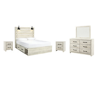 Cambeck Queen Panel Bed with 2 Storage Drawers with Mirrored Dresser and 2 Nightstands, Whitewash, large