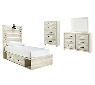 Cambeck Twin Panel Bed with 4 Storage Drawers with Mirrored Dresser and Chest, Whitewash, large