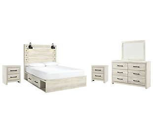 Cambeck Queen Panel Bed with 4 Storage Drawers with Mirrored Dresser and 2 Nightstands, Whitewash, large