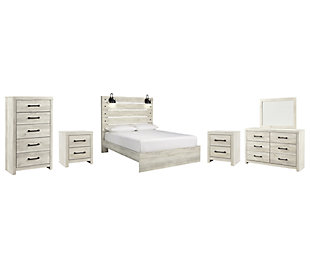 Cambeck Queen Panel Bed with Mirrored Dresser, Chest and 2 Nightstands, Whitewash, large