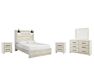 Cambeck Queen Panel Bed with Mirrored Dresser and 2 Nightstands, Whitewash, large