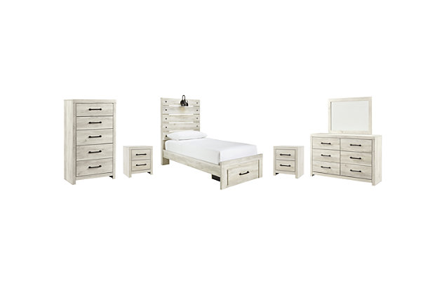 Cambeck Twin Panel Bed with 1 Storage Drawer with Mirrored Dresser, Chest and 2 Nightstands, , large
