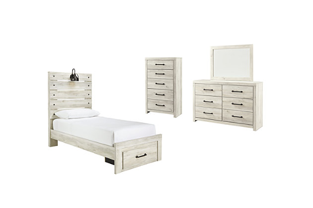 Cambeck Twin Panel Bed with 1 Storage Drawer with Mirrored Dresser and Chest, , large