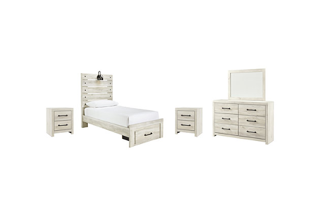 Cambeck Twin Panel Bed with 1 Storage Drawer with Mirrored Dresser and 2 Nightstands, , large