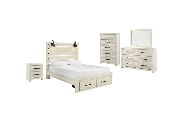 Cambeck Queen Panel Bed with 2 Storage Drawers with Mirrored Dresser, Chest and Nightstand, Whitewash, large