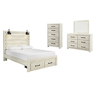 Cambeck Queen Panel Bed with 2 Storage Drawers with Mirrored Dresser and Chest, Whitewash, large