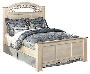 Catalina Queen Poster Bed, Antique White, large
