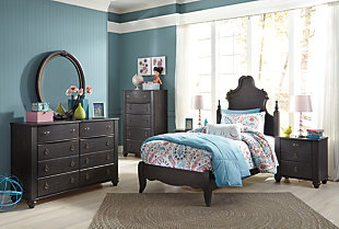 Corilyn Twin Panel Bed, Dark Brown, large